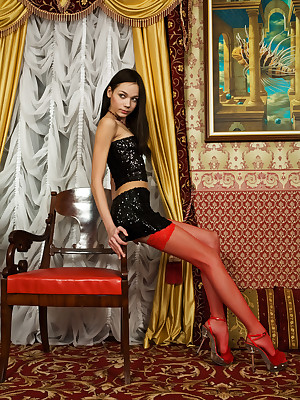 Teen concerning in flames stockings