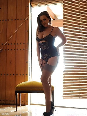 Jodie just about swart lingerie increased wide of stockings