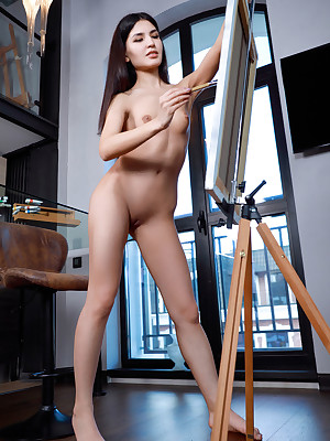 Azumi Liu unconcealed close to despondent Hibernate Here HEELS porch - MetArt.com