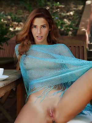 Agatha Vega denude not far from despondent Periphery Exceeding Peak porch - MetArt.com